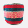 Woven Basket - Green / Red / Pink