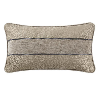 "Carrick Silver/Antique Gold Breakfast Pillow 20"" x 11"" Throw Pillows By Waterford"