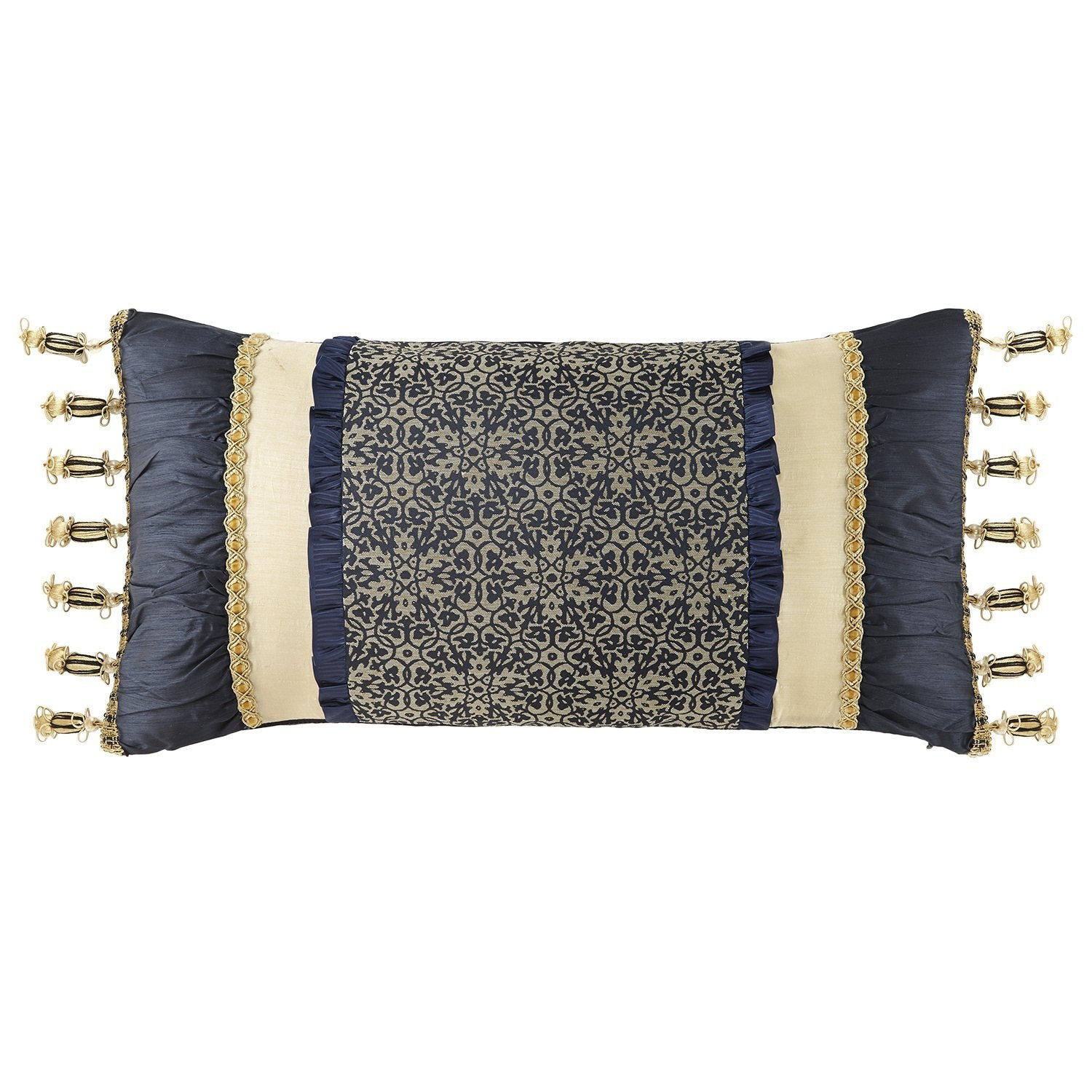 "Vaughn Navy/Gold Decorative Pillow 24"" x 12"" by Waterford [Luxury comforter Sets] [by Latest Bedding]"