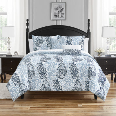 Albi Navy 5-Piece Comforter Set Comforter Sets By Waterford
