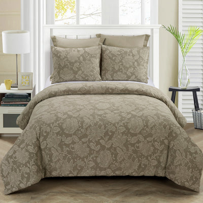 Amadora Taupe 3-Piece Comforter Set [Luxury comforter Sets] [by Latest Bedding]