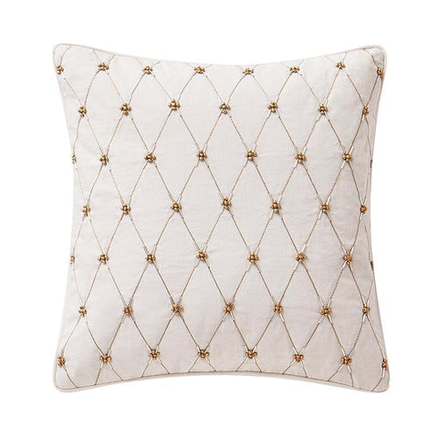 "Pillows Annalise Gold Beaded Square Decorative Pillow 14"" x 14"" Latest Bedding"