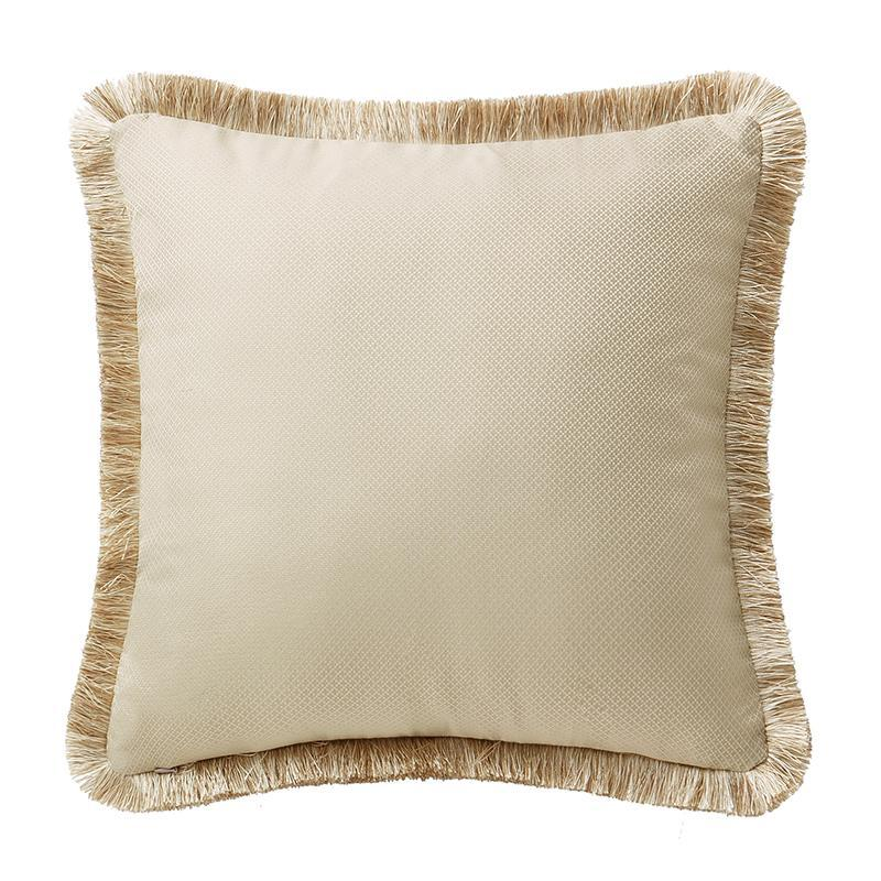 "Annalise Gold Square Decorative Pillow 18"" x 18"" Throw Pillows By Waterford"