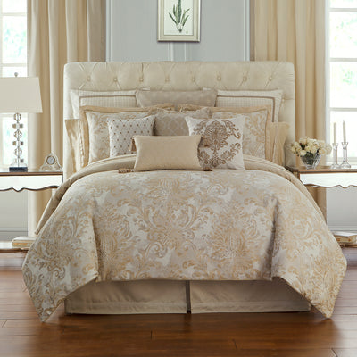 Annalise Gold 4-Piece Reversible Comforter Set Comforter Sets By Waterford