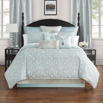 Arezzo Blue 4-Piece Comforter Set Comforter Sets By Waterford