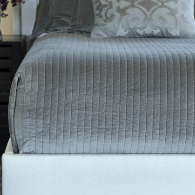 Aria Light Grey Matte Velvet Quilted Coverlet Coverlet By Lili Alessandra