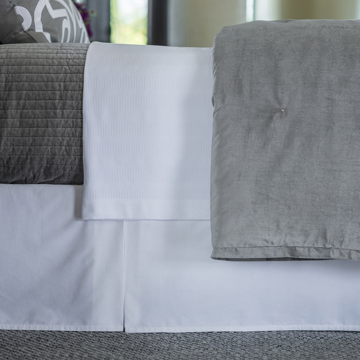 Aria White Matte Velvet 3-Panel Bedskirt [Luxury comforter Sets] [by Latest Bedding]