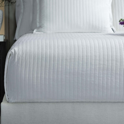 Aria White Matte Velvet Quilted Coverlet [Luxury comforter Sets] [by Latest Bedding]