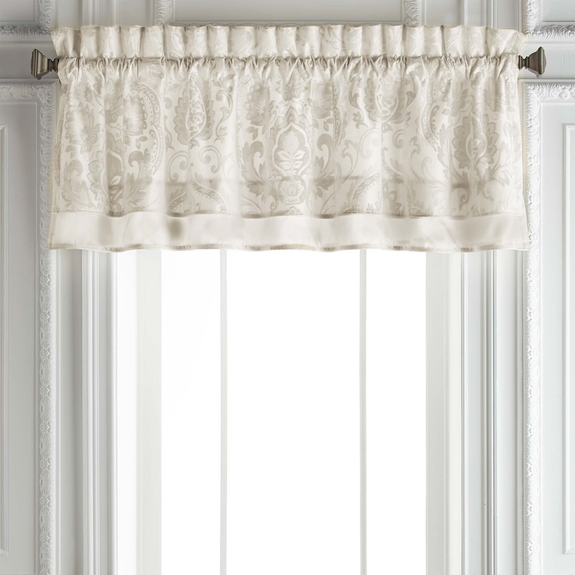 Astrid Ivory Double Layered Straight Window Valance [Luxury comforter Sets] [by Latest Bedding]