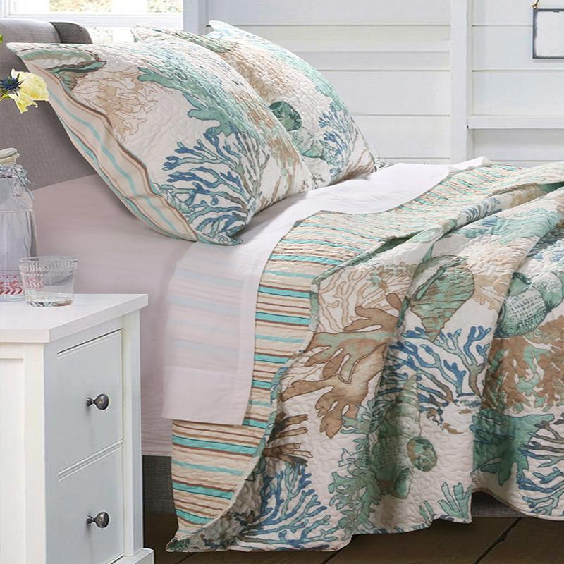 Atlantis Jade 3-Piece Quilt Set Quilt Sets By Greenland Home Fashions