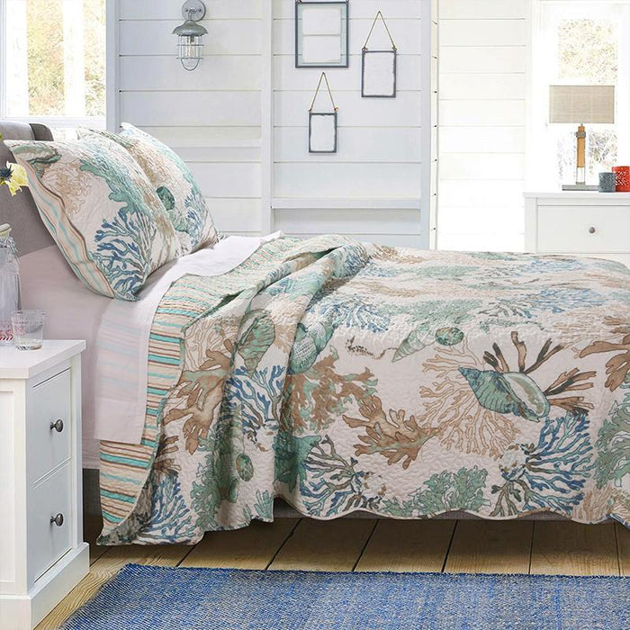 Atlantis Jade 3-Piece Quilt Set