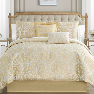 Bastia Gold 4-Piece Comforter Set Comforter Sets By Waterford