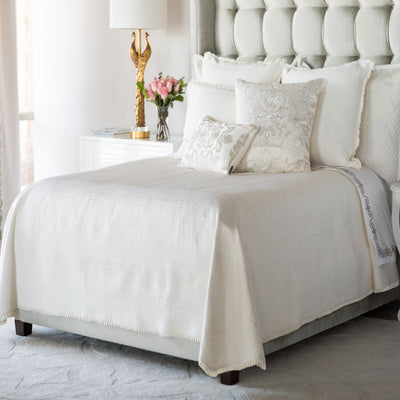Battersea Ivory S&S Quilted Bedspread [Luxury comforter Sets] [by Latest Bedding]