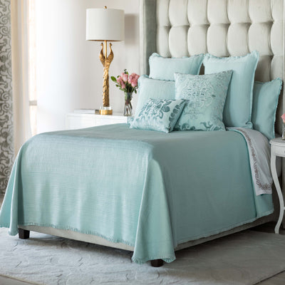 Battersea Sea Foam S&S Quilted Bedspread [Luxury comforter Sets] [by Latest Bedding]