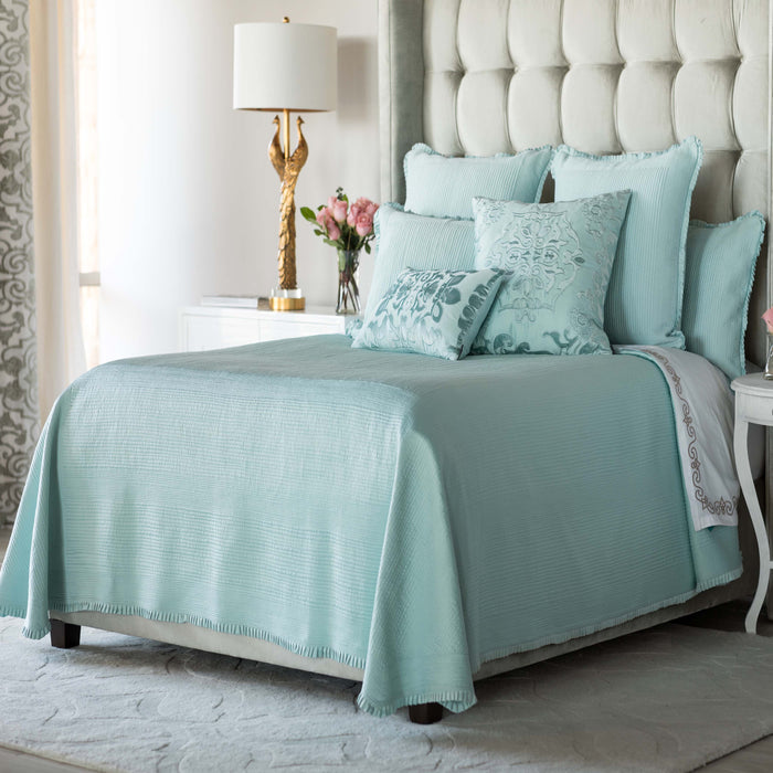 Battersea Sea Foam S&S Quilted Bedspread