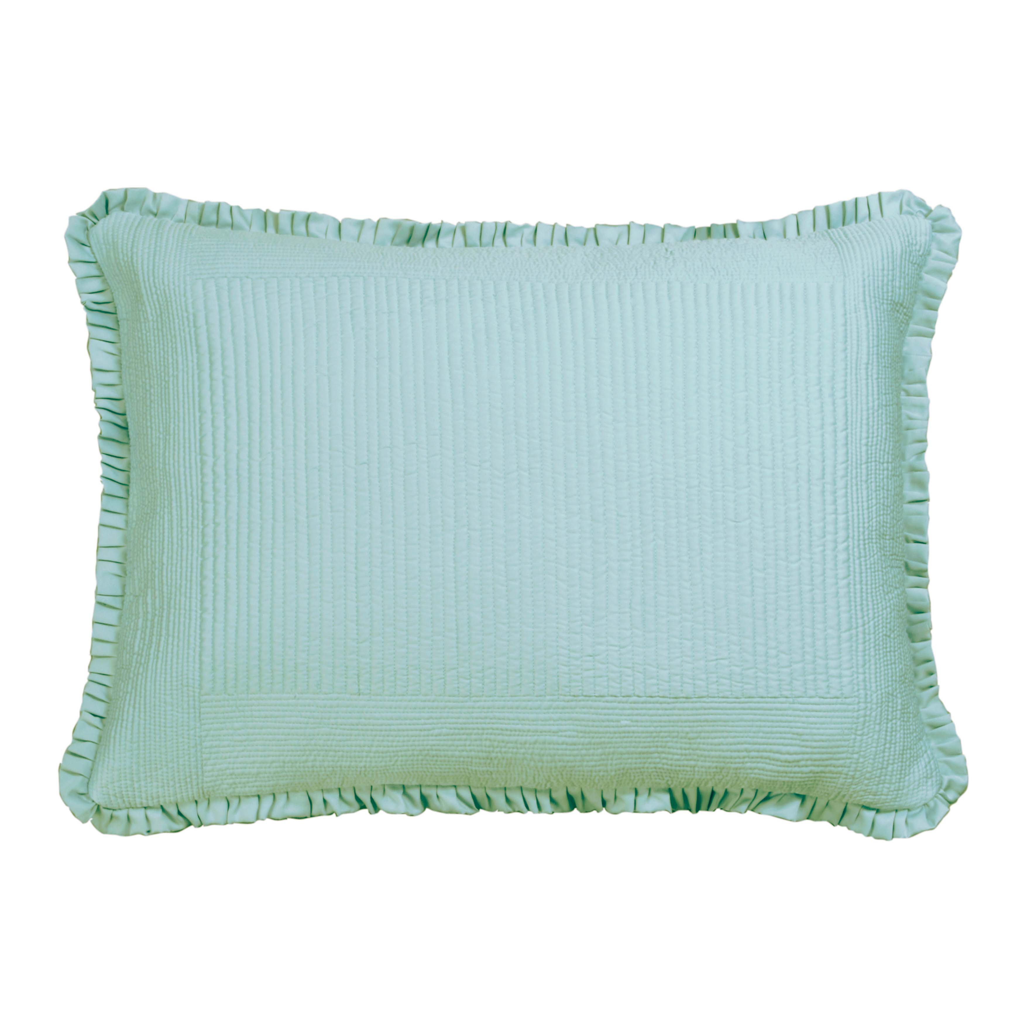 Battersea Sea Foam S&S Quilted Pillow Throw Pillows By Lili Alessandra
