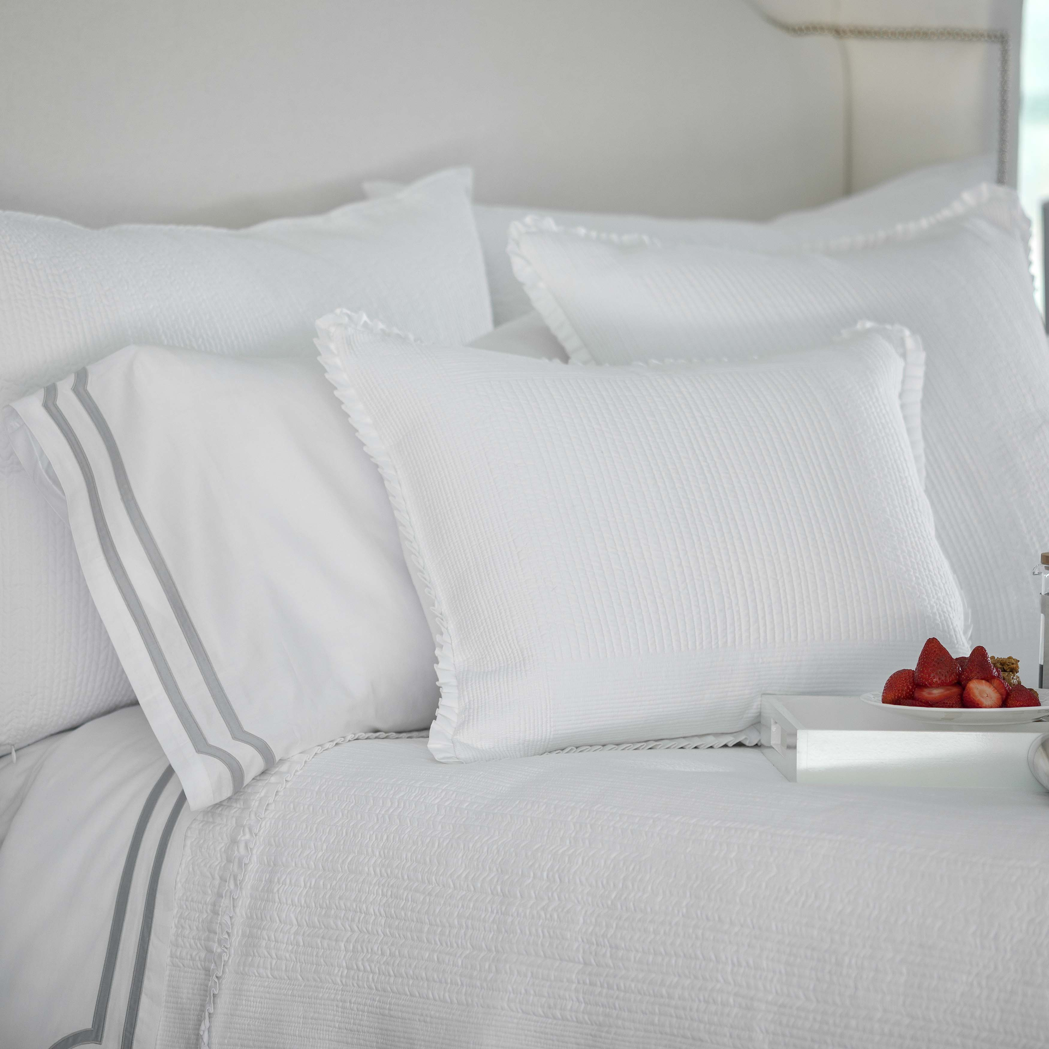 Battersea White Cotton Quilted Coverlet Coverlet By Lili Alessandra