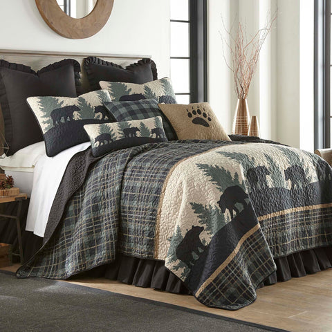 Bear Walk Plaid 3-Piece Quilt Set [Luxury comforter Sets] [by Latest Bedding]