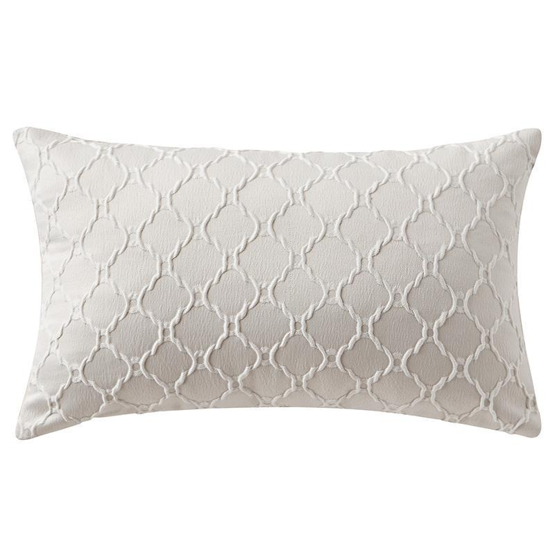 "Belissa Ivory Quilted Decorative Pillow 20"" x 14"" [Luxury comforter Sets] [by Latest Bedding]"