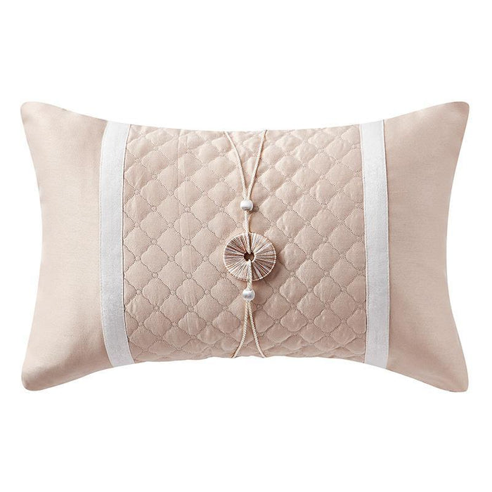 "Belissa Ivory Quilted Decorative Pillow 20"" x 14"""