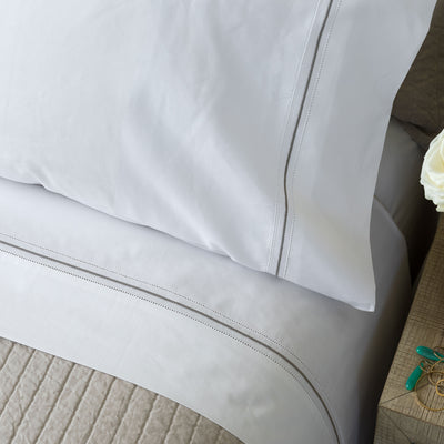 Bella White/Raffia Double Hem Stitch Pillowcase Set Pillowcases By Lili Alessandra