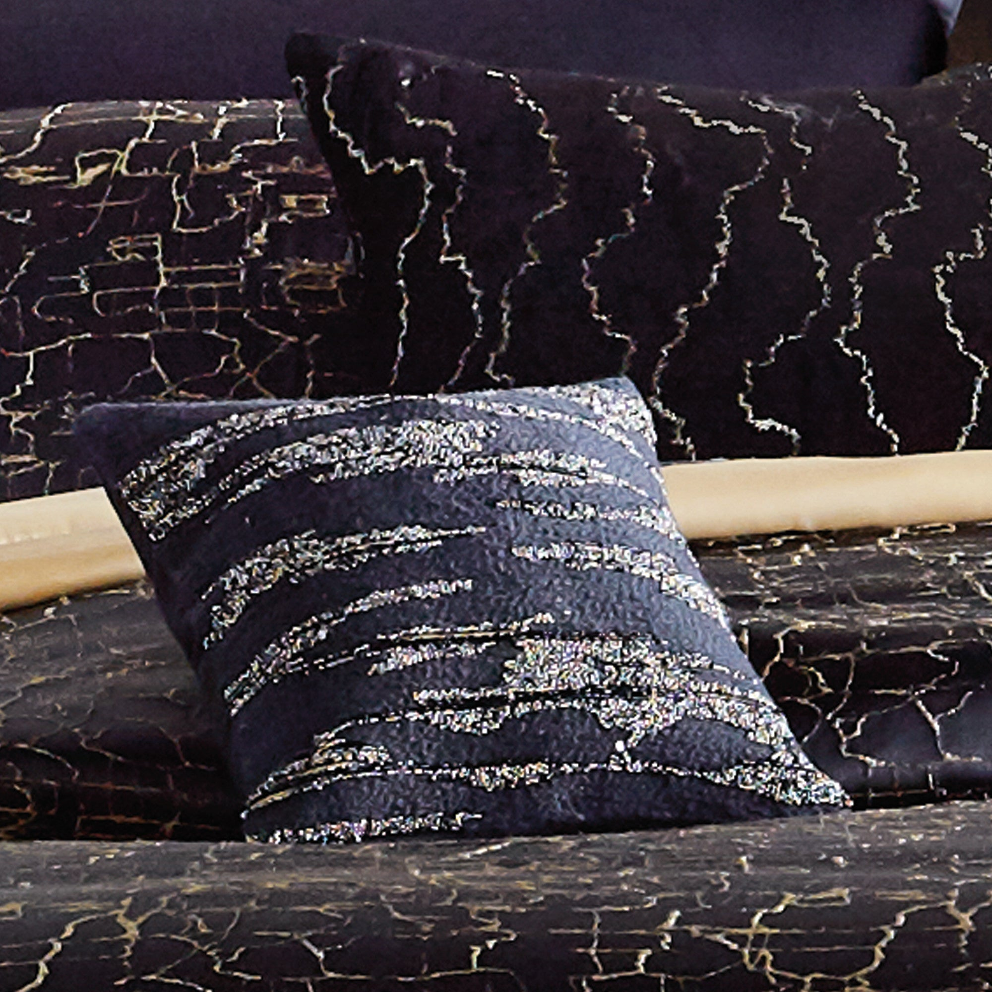 "Onyx Black Throw Pillow 12"" x 12"" - DKNY Home Throw Pillows By CHF Industries, Inc."