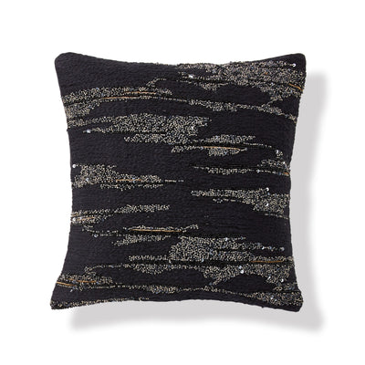 "Onyx Black Throw Pillow 12"" x 12"" - DKNY Home [Luxury comforter Sets] [by Latest Bedding]"