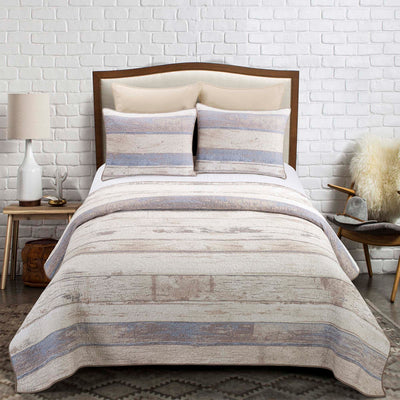 Bleached Boardwalk 3-Piece Quilt Set [Luxury comforter Sets] [by Latest Bedding]