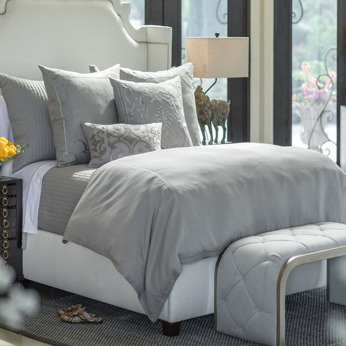 Bloom Grey Linen Duvet Cover