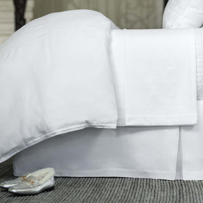 Bloom White Linen Bedskirt [Luxury comforter Sets] [by Latest Bedding]