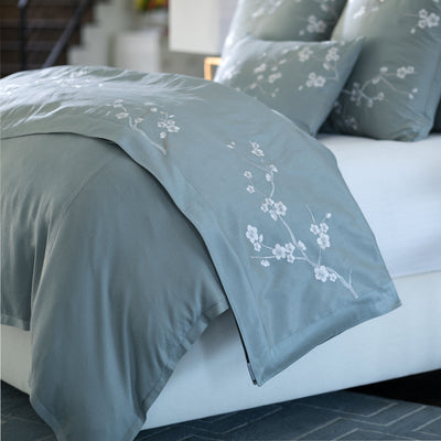 Blossom Blue Venetian Silver Embroidery Throw [Luxury comforter Sets] [by Latest Bedding]