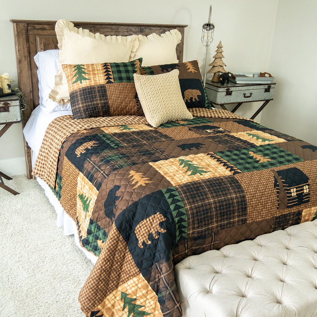 Brown Bear Cabin 3-Piece Quilt Set [Luxury comforter Sets] [by Latest Bedding]