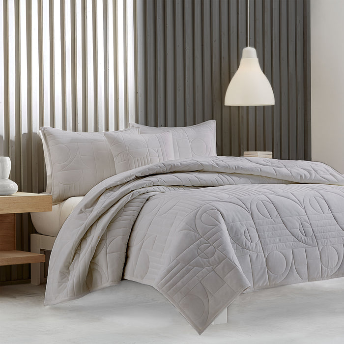 Bryant Grey Quilted Coverlet