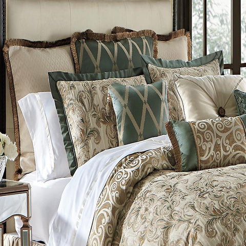 Comforter Sets Anora Brass/Jade 4-Piece Reversible Comforter Set by Waterford Latest Bedding