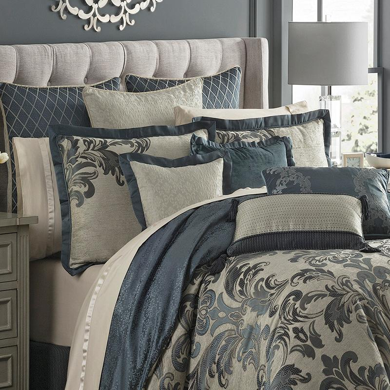 Comforter Sets Everett Teal 4-Piece Reversible Comforter Set by Waterford [Luxury comforter Sets) ( by Latest Bedding)]
