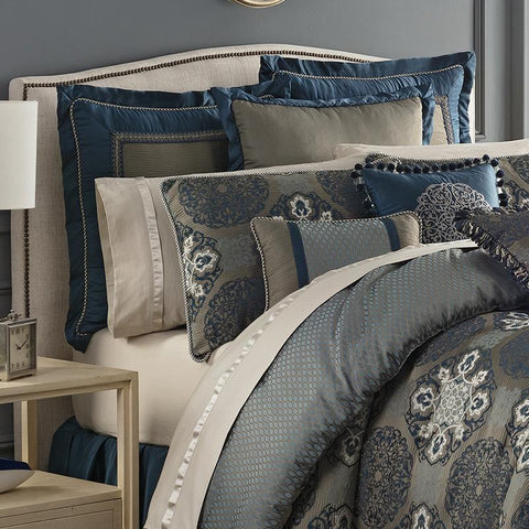 Comforter Sets Jonet Indigo 4-Piece Reversible Comforter Set by Waterford Latest Bedding