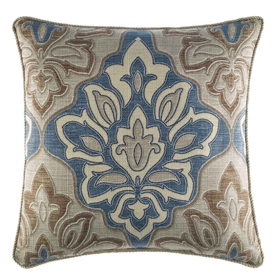 "Captain's Quarter Beige Square Throw Pillow 18"" x 18"" Throw Pillows By Croscill Home LLC"