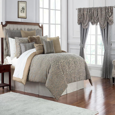 Carrick Silver/Antique Gold 4-Piece Comforter Set Comforter Sets By Waterford