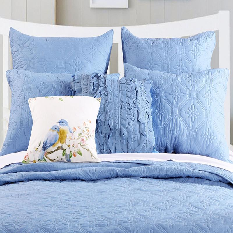 Bedspread Set Central Park Mineral Blue 3-Piece Bedspread Set Latest Bedding