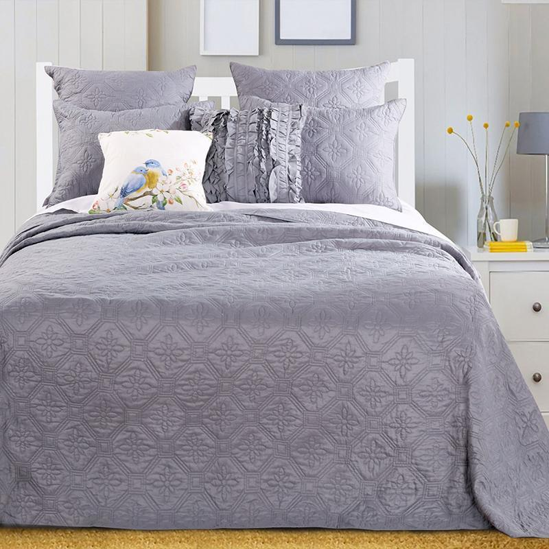 Bedspread Set Central Park Stone Gray 3-Piece Bedspread Set Latest Bedding