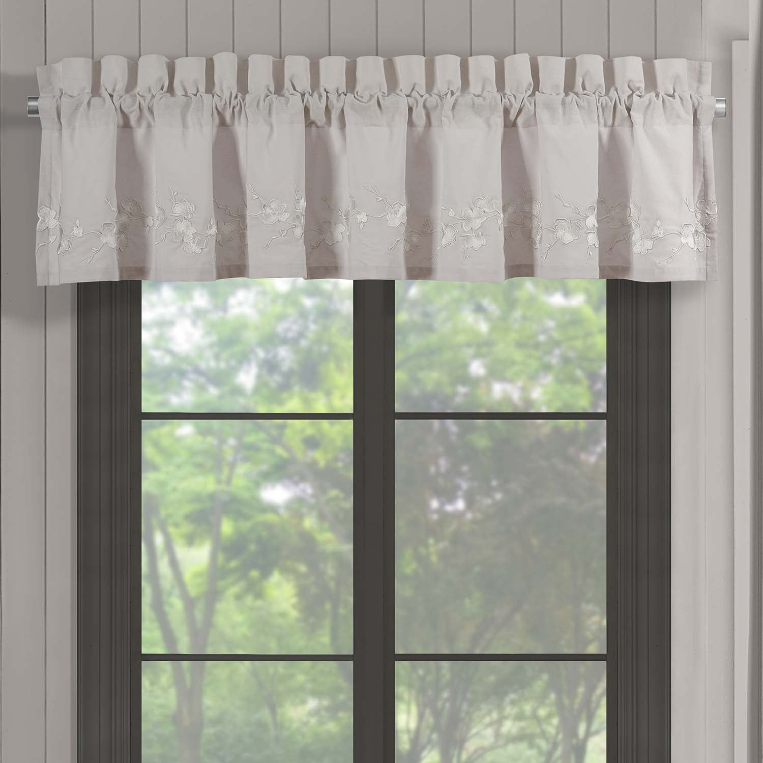 Cherry Blossom Grey Straight Window Valance [Luxury comforter Sets] [by Latest Bedding]