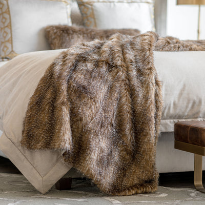 Chestnut Faux Fur Throw [Luxury comforter Sets] [by Latest Bedding]