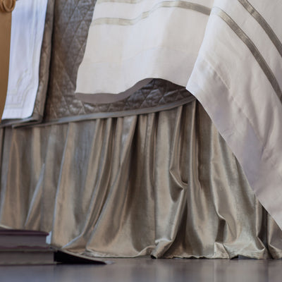 Chloe Ice Silver Velvet 3-Panel Bedskirt [Luxury comforter Sets] [by Latest Bedding]
