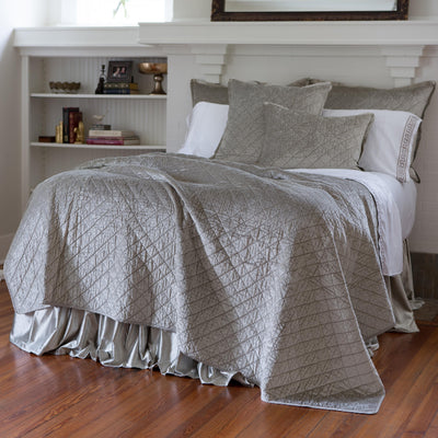 Chloe Ice Silver Velvet Diamond Quilted Coverlet [Luxury comforter Sets] [by Latest Bedding]