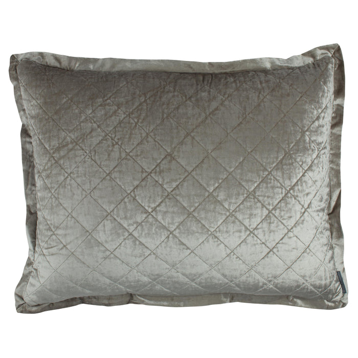 Chloe Ice Silver Velvet Diamond Quilted Pillow