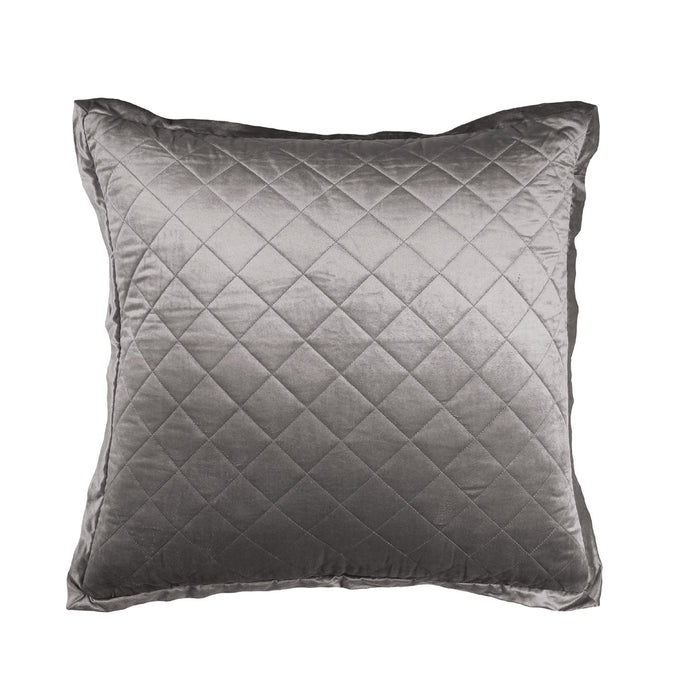 Chloe Silver Velvet Diamond Quilted Euro Pillow
