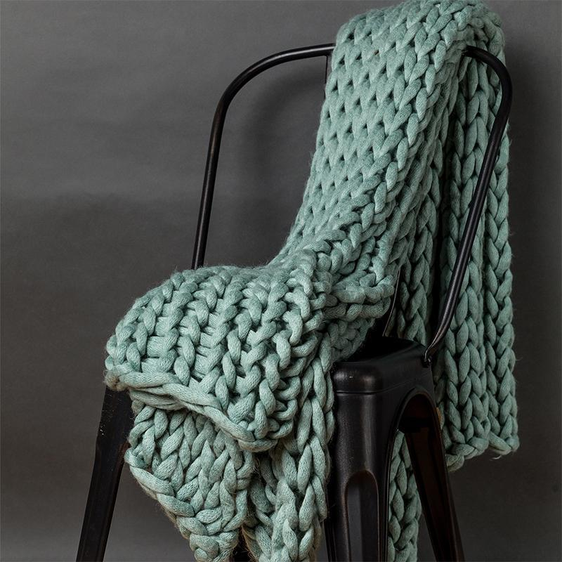 Chunky Aqua Knit Throw [Luxury comforter Sets] [by Latest Bedding]