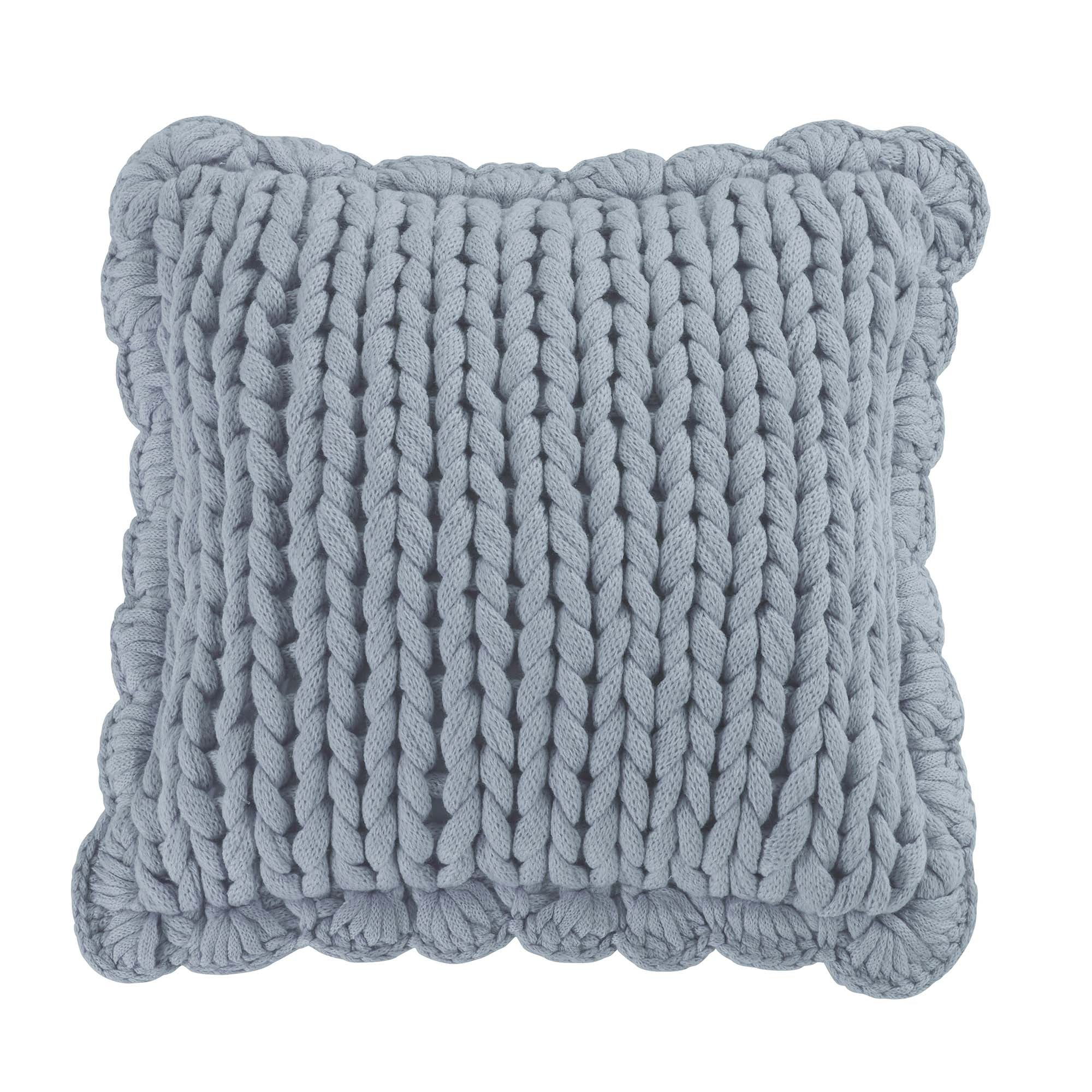 Chunky Knitted Blue Decorative Pillow [Luxury comforter Sets] [by Latest Bedding]
