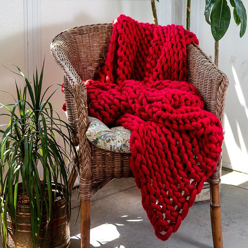 Chunky Red Knit Throw [Luxury comforter Sets] [by Latest Bedding]