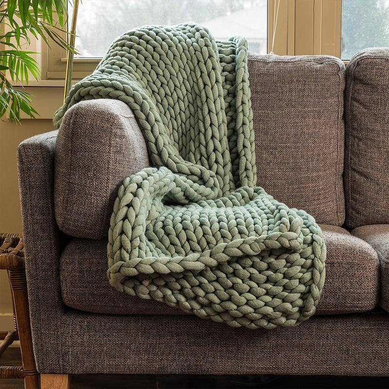 Chunky Sage Knit Throw [Luxury comforter Sets] [by Latest Bedding]